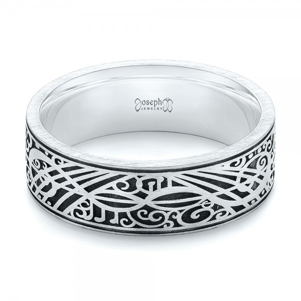 Custom Engraved Men's Band - Flat View -  103531 - Thumbnail