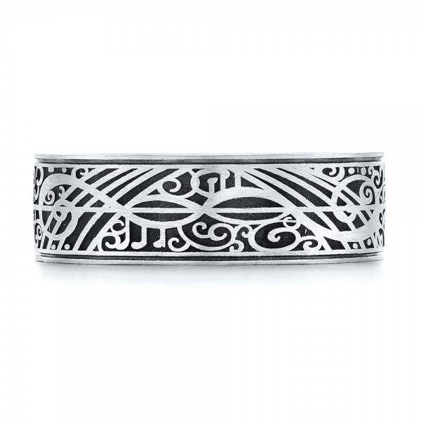 Custom Engraved Men's Band - Top View -  103531 - Thumbnail