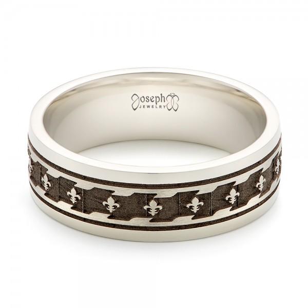 Custom Engraved Men's Wedding Band - Laying View