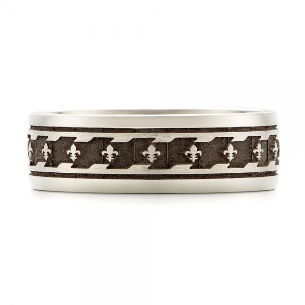 Custom Engraved Men's Wedding Band - Top View