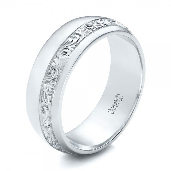 Custom Engraved Platinum Men's Band - Image