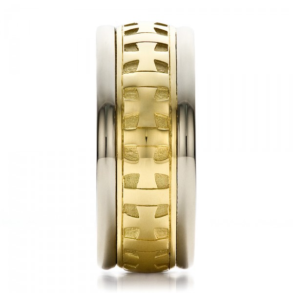 Custom Gold Cross Men's Band - Side View -  100052 - Thumbnail
