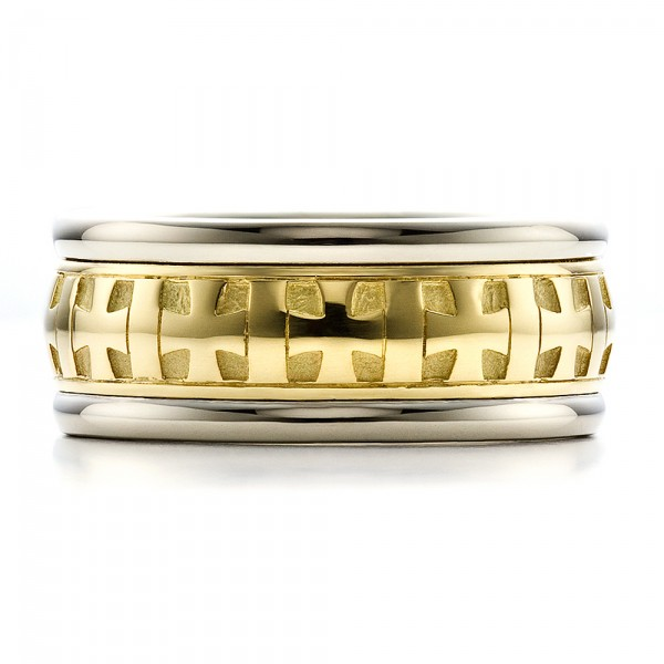 Custom Gold Cross Men's Band - Top View -  100052 - Thumbnail