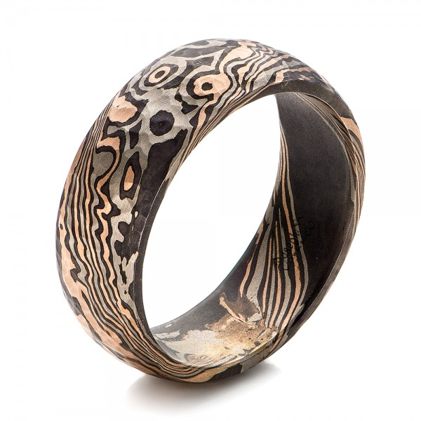 Custom Hammered Men's Mokume Wedding Band - Image