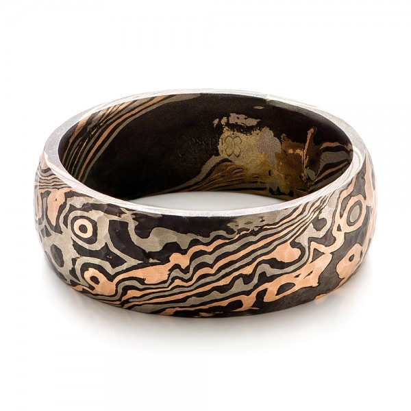 Custom Hammered Mens Mokume Wedding Band 101421