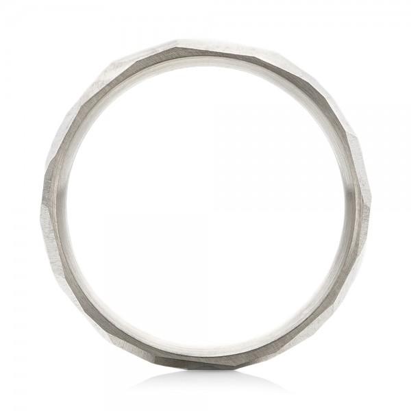 Custom Hammered Men's Band - Finger Through View