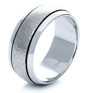 Custom Hammered Men's Platinum Band - Image