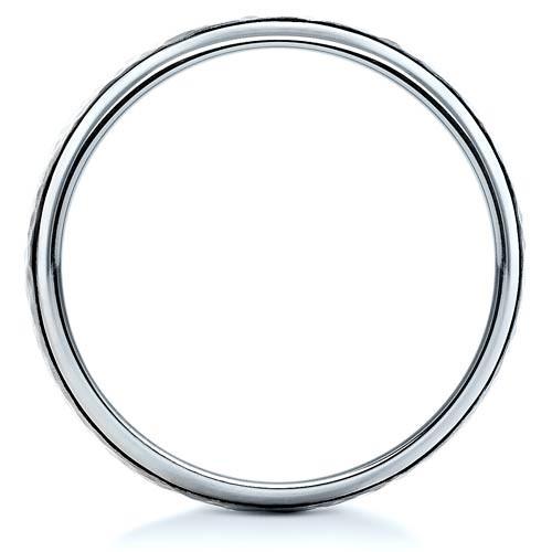 Custom Hammered Men's Platinum Band - Finger Through View