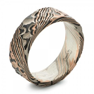 Custom Hammered Mokume Men's Wedding Band