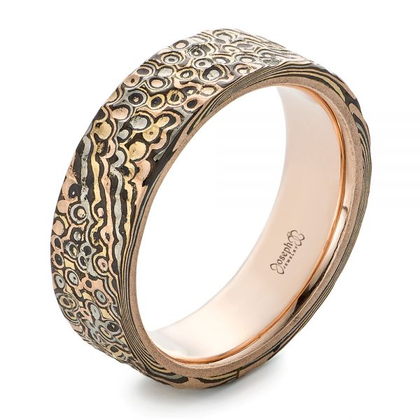 Custom Hammered Mokume Men's Wedding Band - Image