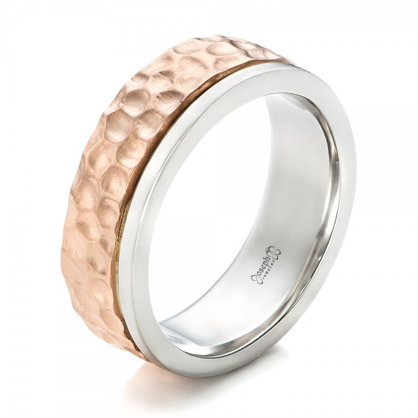 Custom Hammered TwoTone Mens Wedding Band 102320