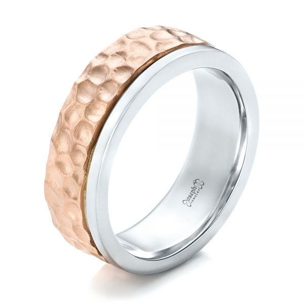 Platinum And 18k Rose Gold Platinum And 18k Rose Gold Custom Hammered Two-tone Men's Wedding Band - Three-Quarter View -