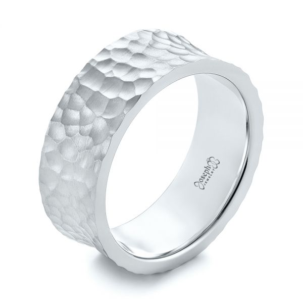 18k White Gold 18k White Gold Custom Hammered And Brushed Men's Wedding Band - Three-Quarter View -  103285