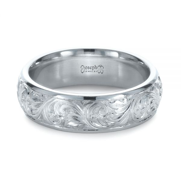 Platinum Custom Hand Engraved Band - Flat View -  1376
