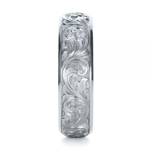 Platinum Custom Hand Engraved Band - Side View -  1376