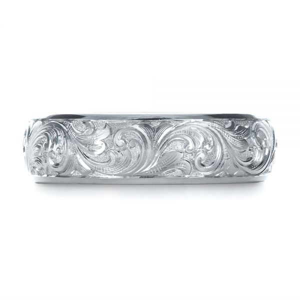 Platinum Custom Hand Engraved Band - Top View -  1376