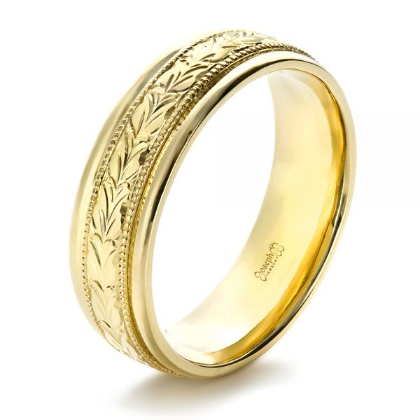 18k Yellow Gold Custom Hand Engraved Band - Three-Quarter View -