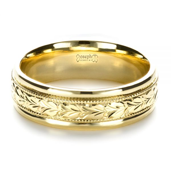 18k Yellow Gold Custom Hand Engraved Band - Flat View -