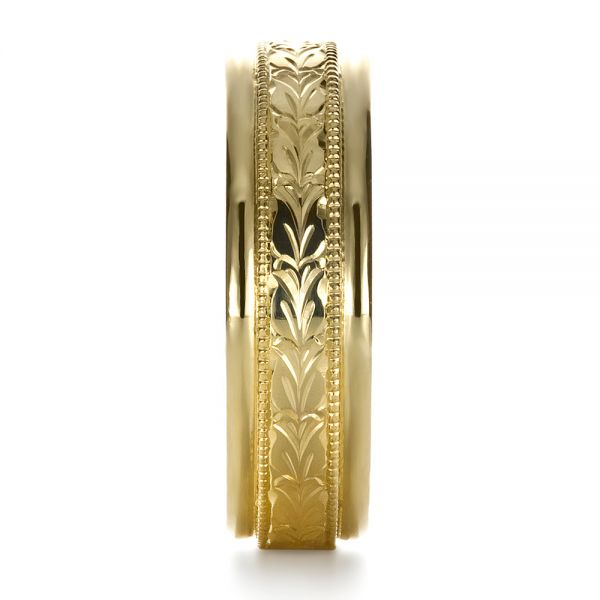 18k Yellow Gold Custom Hand Engraved Band - Side View -
