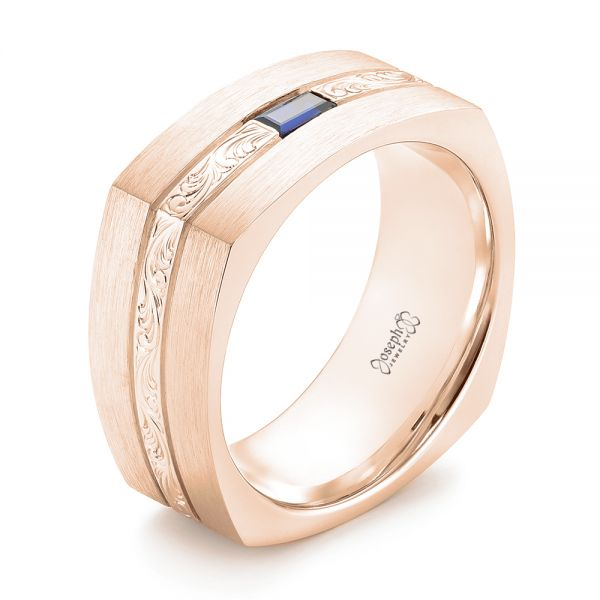 18k Rose Gold 18k Rose Gold Custom Hand Engraved Blue Sapphire Men's Band - Three-Quarter View -  102998