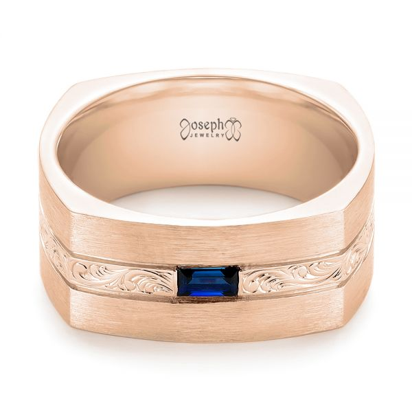 18k Rose Gold 18k Rose Gold Custom Hand Engraved Blue Sapphire Men's Band - Flat View -  102998