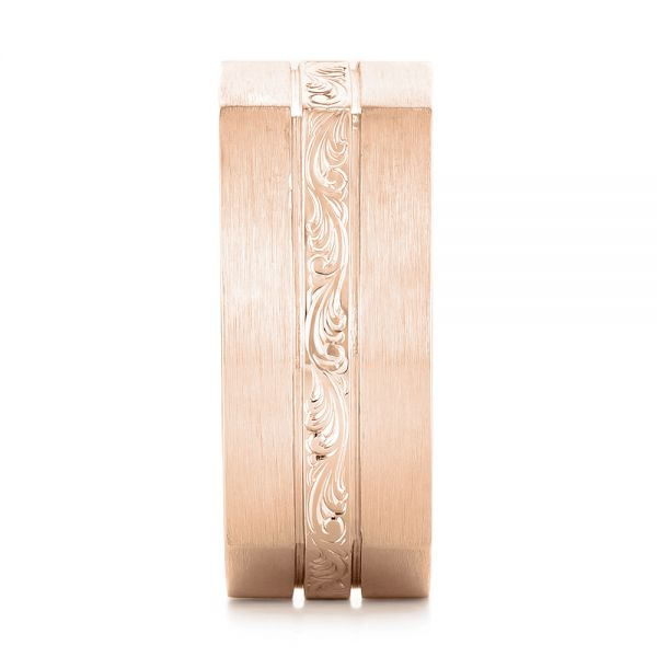 18k Rose Gold 18k Rose Gold Custom Hand Engraved Blue Sapphire Men's Band - Side View -  102998
