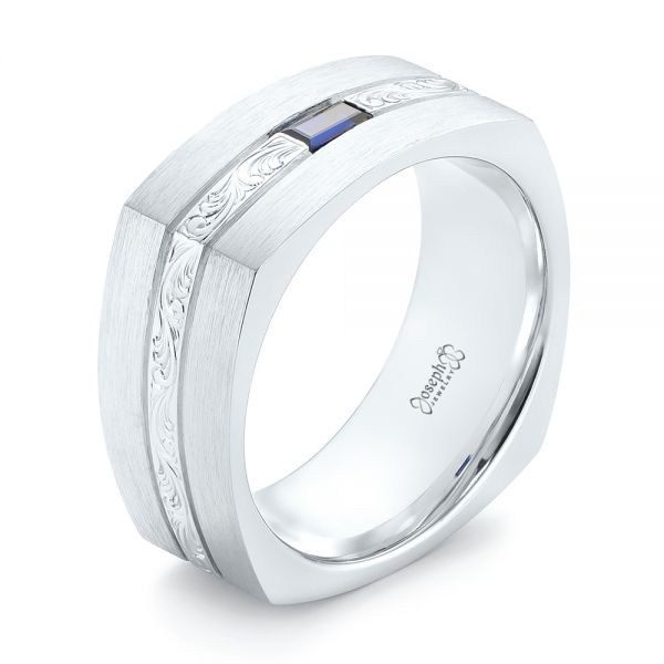 14k White Gold Custom Hand Engraved Blue Sapphire Men's Band - Three-Quarter View -