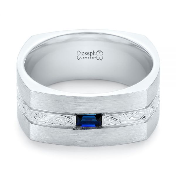 14k White Gold Custom Hand Engraved Blue Sapphire Men's Band - Flat View -