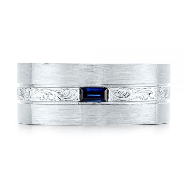 14k White Gold Custom Hand Engraved Blue Sapphire Men's Band - Top View -