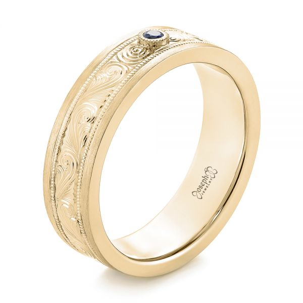 14k Yellow Gold 14k Yellow Gold Custom Hand Engraved Blue Sapphire Men's Band - Three-Quarter View -  104825