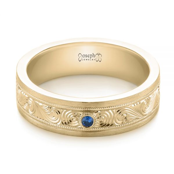 14k Yellow Gold 14k Yellow Gold Custom Hand Engraved Blue Sapphire Men's Band - Flat View -  104825