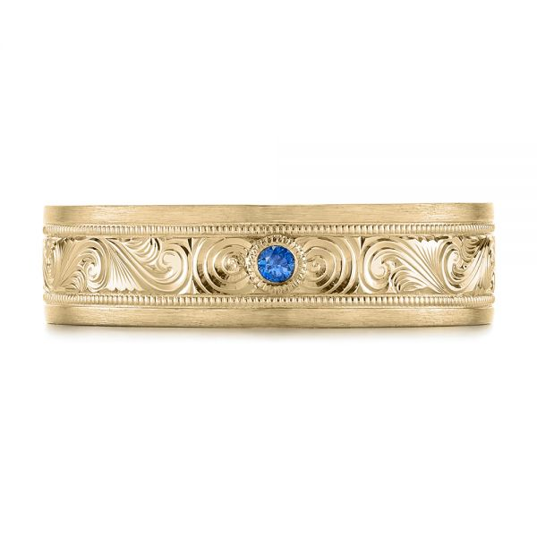 14k Yellow Gold 14k Yellow Gold Custom Hand Engraved Blue Sapphire Men's Band - Top View -  104825