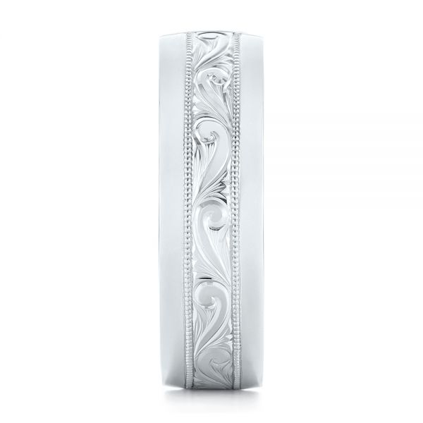 Platinum Custom Hand Engraved Diamond Men's Band - Side View -  103598