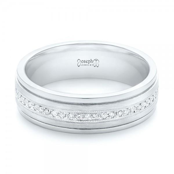 Custom Hand Engraved Diamond Men's Band - Laying View
