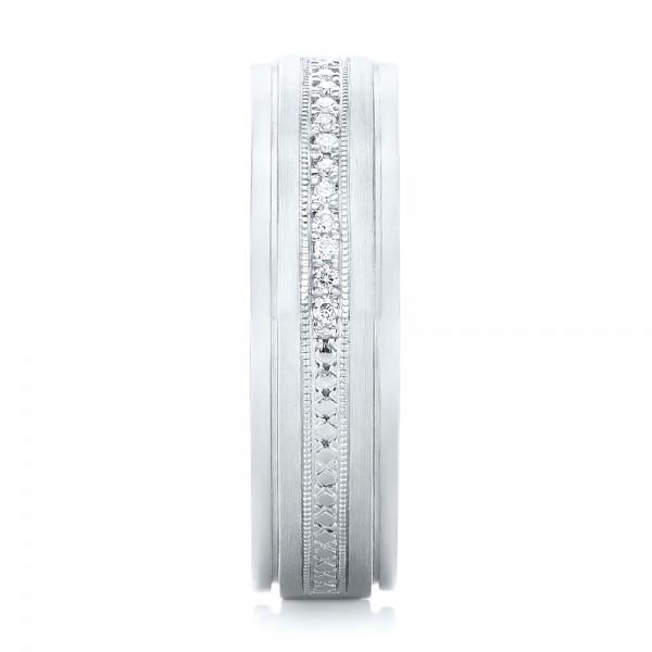 Custom Hand Engraved Diamond Men's Band - Side View