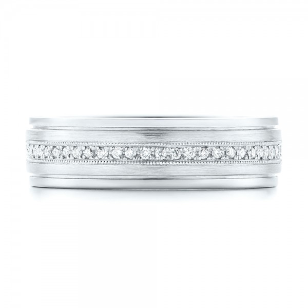 Custom Hand Engraved Diamond Men's Band - Top View -  102977 - Thumbnail