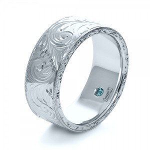 Custom Hand-Engraved Hidden Blue Diamond Ring