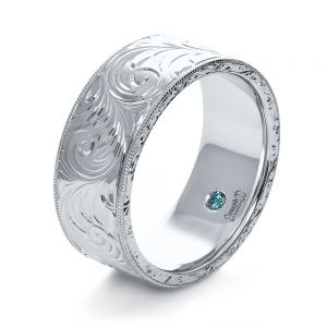 Custom Hand-Engraved Hidden Blue Diamond Ring - Image