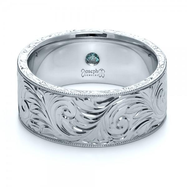 Custom Hand-Engraved Hidden Blue Diamond Ring - Laying View