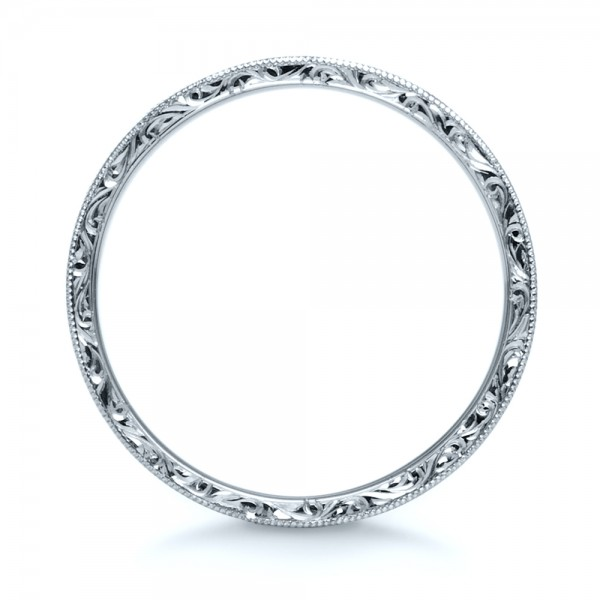 Custom Hand-Engraved Hidden Blue Diamond Ring - Finger Through View