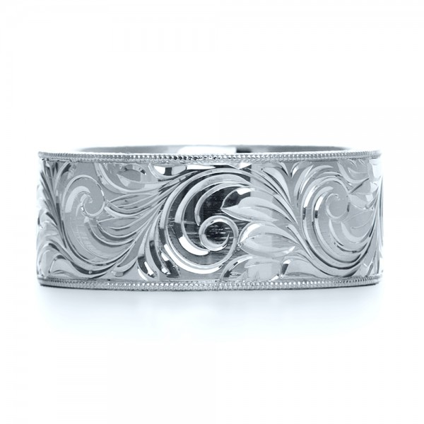 Custom Hand-Engraved Hidden Blue Diamond Ring - Top View