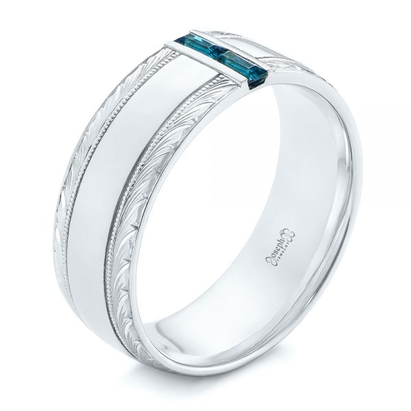 Custom Hand Engraved London Blue Topaz Men's Band - Three-Quarter View -  104028 - Thumbnail