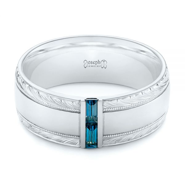 Custom Hand Engraved London Blue Topaz Men's Band - Flat View -  104028 - Thumbnail