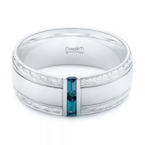 Custom Hand Engraved London Blue Topaz Men's Band