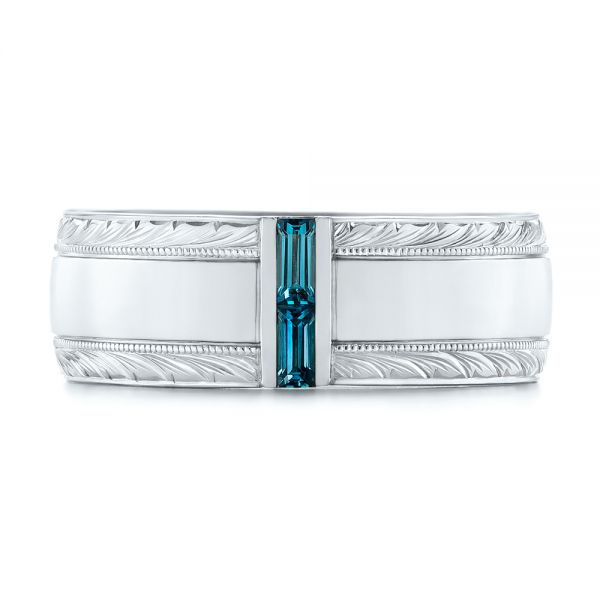 Custom Hand Engraved London Blue Topaz Men's Band - Top View -  104028 - Thumbnail