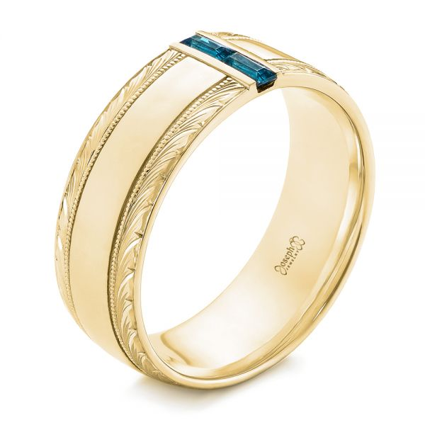 18k Yellow Gold 18k Yellow Gold Custom Hand Engraved London Blue Topaz Men's Band - Three-Quarter View -