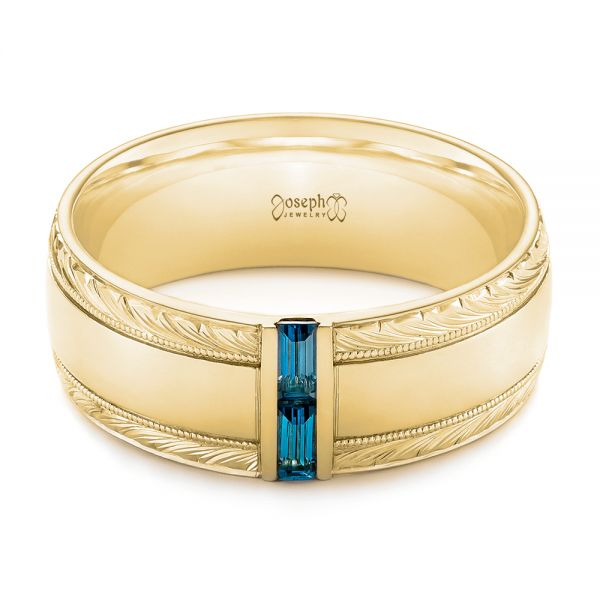 18k Yellow Gold 18k Yellow Gold Custom Hand Engraved London Blue Topaz Men's Band - Flat View -