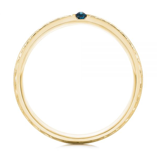 18k Yellow Gold 18k Yellow Gold Custom Hand Engraved London Blue Topaz Men's Band - Front View -