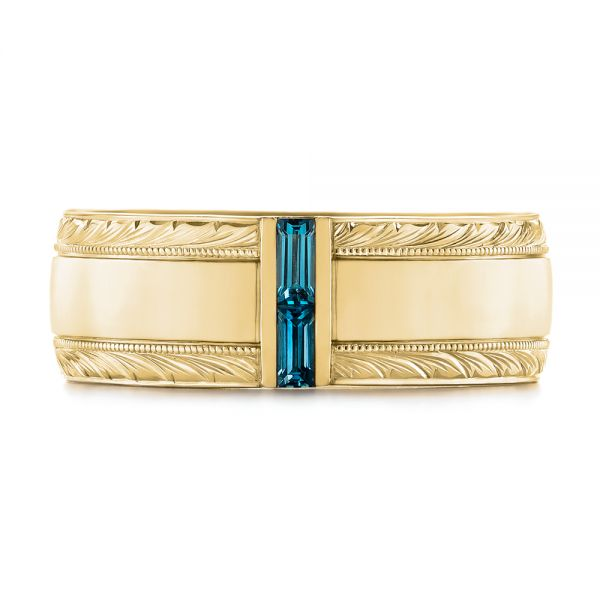 18k Yellow Gold 18k Yellow Gold Custom Hand Engraved London Blue Topaz Men's Band - Top View -