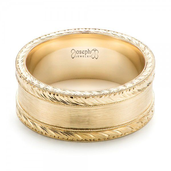 14k Yellow Gold Custom Hand Engraved Men's Band - Flat View -